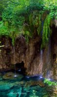Dripping waterfall of Plitvice by Moonbird9
