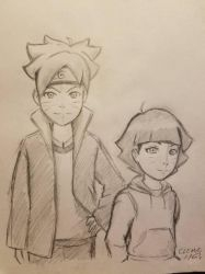 Boruto and Himawari Painting Sketch by DNLINK