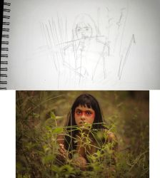 Sketch red indian girl by kinow