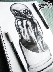 sketch of Birth machine bullet (H.R. Giger) by berhoff
