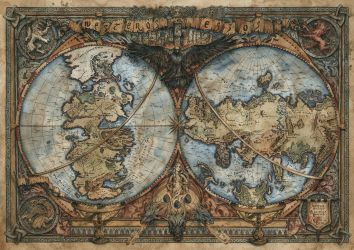 Game of Thrones Map - Westeros and Essos by FrancescaBaerald