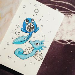 Poliwag and Horsea by semiko