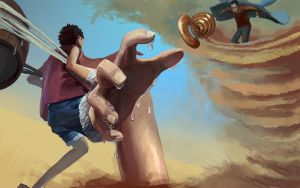luffy VS Sir Crocodile by Miteality