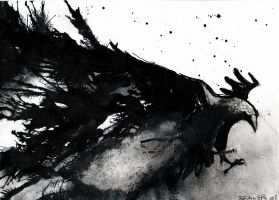 Abstract raven - ink painting by DoodleWithGlueGun