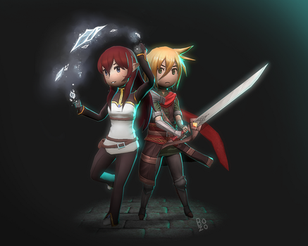 Bravely-Like: Aurus and Lucciola by Druelbozo