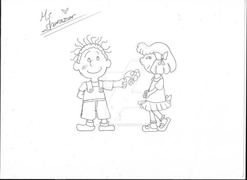 Inktober 18 Filthy. pig-pen and patty. by Ms-Sharazar