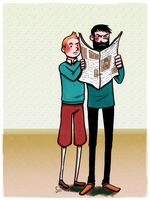Tintin and Haddock by Super-kip