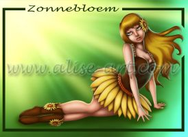 Sunflower Elf - Zonnebloem Elfje by Alise-Art