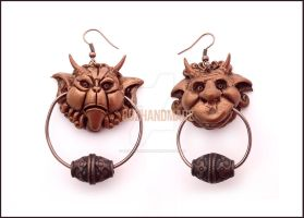 Knocker Earrings Labyrinth - Actual Version by buzhandmade