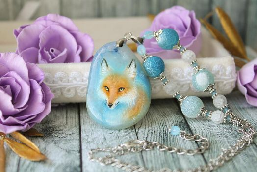 Tiny fox  - hand painted pendant by LunarFerns
