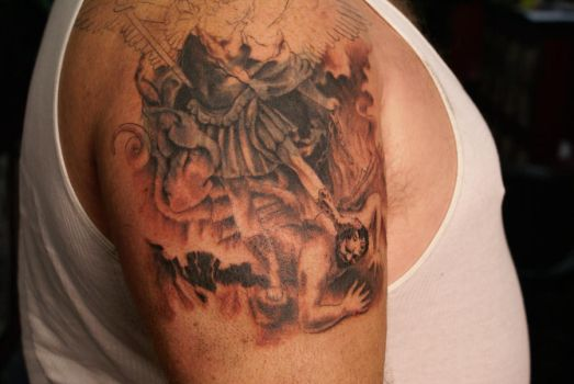 saint micheal tatoo unfinished by dv8ordeath