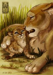 Lioness and Cub by OnTheMountainTop
