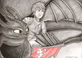 Toothless and Hiccup by Matilzie