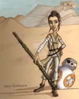 Rey and BB8 on Jakku by Stnk13