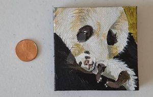 Tiny Panda Parent Painting.. View 3 by DorysStories