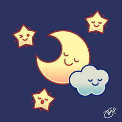 Sleepover (Moon, Stars, and Cloud) by knitetgantt