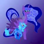 Mother Luna and daughter Winter Eclipse by MischievousArtist
