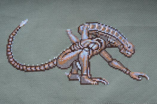 Xenomorph cross stitch by eveningemma
