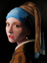 Girl with a Pearl Earring - Oil on canvas by Larocka84