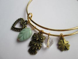 Gold, antique bronze adjustable charm bangle by Cre8tivedesignz