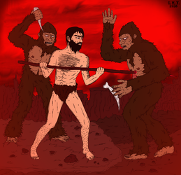 Caveman vs. Apemen by TheAmazingMrSMY