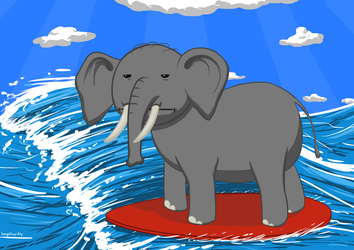 Surfing Elephant by LargeStupidity