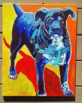Pet Portrait black dog by jupiterjenny