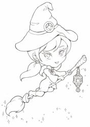 Chibi Lineart: Witch by Bella-ran