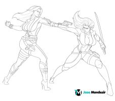 Black Widow vs Talia Ahgul by JoseMondesir