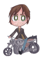 Daryl And His Soulmate (AKA His Motorcycle) by pferdmeister