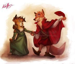 the Shetland and the Red Fox by nuriaabajo