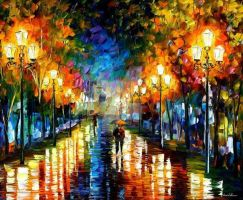 Under Brown Umbrella by Leonid Afremov by Leonidafremov