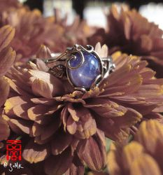 Vine and scrolls with natural blue star sapphire by somk