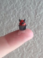 Little Devil mini polymer clay Halloween cupcake by MeganHess