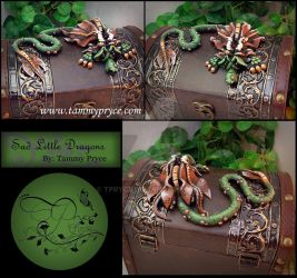 Green N Brown dragon on Tall Old World Chest by Tpryce