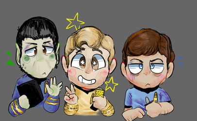Spock, Kirk, and McCoy by Sphynia-cat