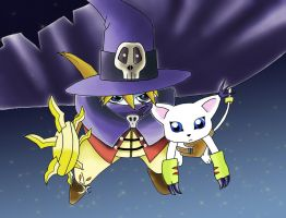 Wizardmon and Gatomon by dolcesunset