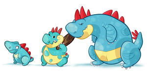 Totodile evos by AppleRat
