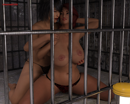 Nuala and Jenny caged by ReverendT69