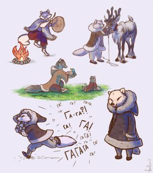 Inuit Arctic foxes by birddragon