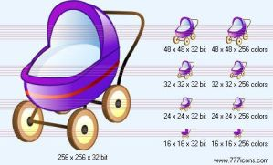 Baby carriage Icon by phorago