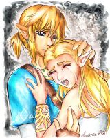 Link and Zelda- Crying With Despair by Laurence-L