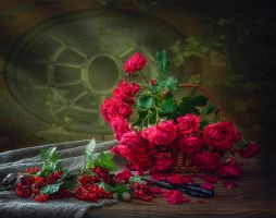 Still life with garden roses by Daykiney