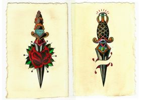 American Traditional Daggers by mubbamubba