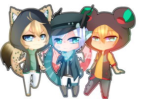 [PC] Chibi Kyu, Shinshi, and Kuma by Vivi-Chuu