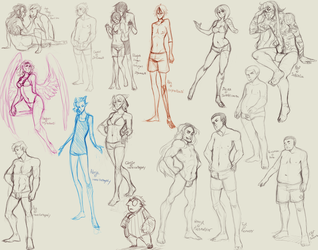 Different body types Character sketches by BloodnSpice