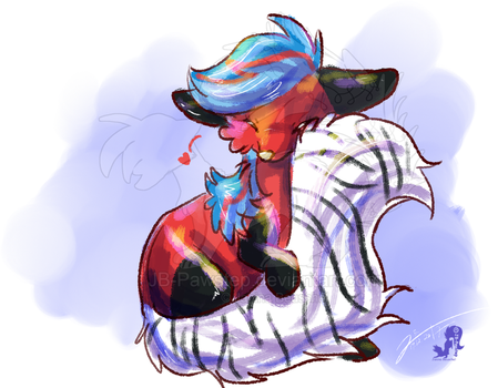 Zepra - Tail Cuddle Painting by JB-Pawstep