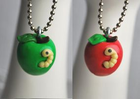 Worm Apple Pendats by Madizzo