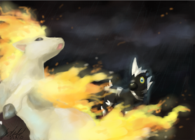 Ponyta Not Flammable In Rain by AudGreen