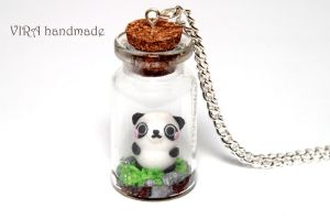Cute panda in a glass jar necklace by virahandmade
